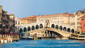 Rialto Bridge and the Grand Canal in Venice, Italy