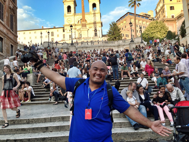 At the Spanish Steps in Rome, Italy
